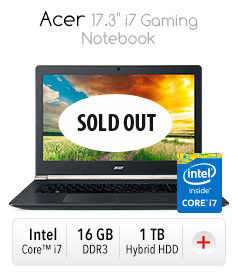 """**SOLD OUT Acer 17.3"""" i7 Gaming Notebook"""