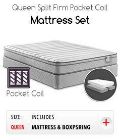 Queen split Firm Pocket Coil Mattress Set