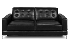 Vista Leather-Like Fabric Sofa - Black