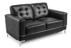 Vista Leather-Like Loveseat in Black  - Click for more details