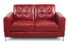 Vista Leather-Like Fabric Loveseat - Red