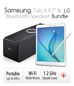 "Samsung Tab A 9.7"" &  LG Bluetooth Speaker Bundle"