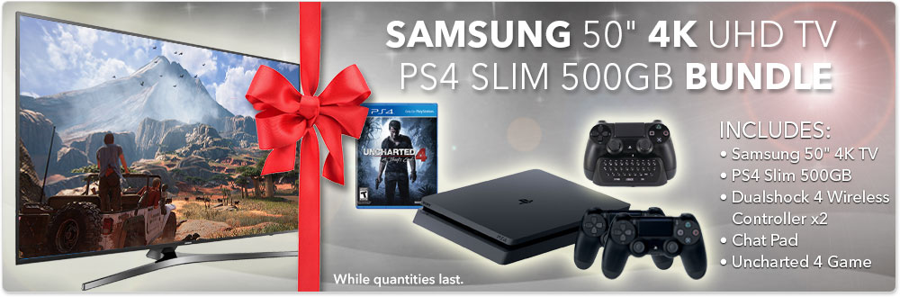 "Samsung 50"" 4K HDTV & PS4 Slim 500GB Bundle"