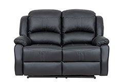 Lorraine Recliner Loveseat in Black Bonded Leather - Click for more details