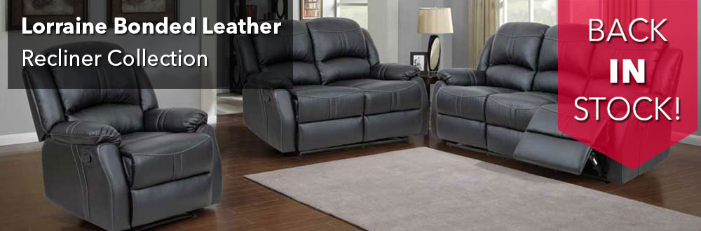 Lorraine Black Recliner 3 Piece Living Room Set   S/L/C Part 97