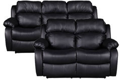 Bonded Leather Recliner Sofa and Loveseat Set in Black - Click for more details
