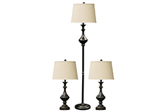 Set of Three Pellerin Bronze Finish Metal Lamps With White Linen Drum Shades
