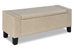 Sorrento Storage Ottoman in Beige Color Fabric - Click for more details