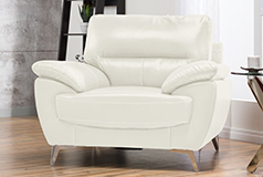 Ernestine Leather-Look Fabric Chair – Snow