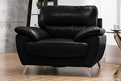 Ernestine Leather-Look Fabric Chair – Black