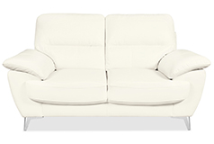 Ernestine Leather-Look Fabric Loveseat – Snow