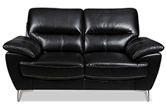 Ernestine Leather-Look Fabric Loveseat – Black