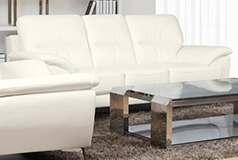 Ernestine Leather-Look Fabric Sofa – Snow