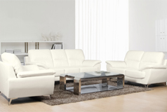 Ernestine 3 Piece Leather-Look Fabric Livingroom Set S/L/C - Snow
