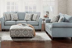 Tamy Living Room Set Includes: Sofa & Loveseat Fabric in Mist - Click for more details