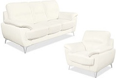 Ernestine Leather-Look SetSofa, Chair Neige - Click for more details