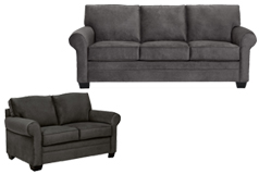 Danton Living Room Set Sofa, Loveseat  in Charcoal Chenille - Click for more details