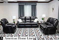 Lorraine Bel-Aire Deluxe Reclining Living Room Set in Ebony Includes: Sofa, Loveseat, Chair