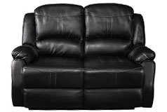 Lorraine Recliner Loveseat in Ebony Bonded Leather - Click for more details