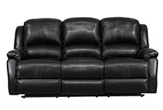 Lorraine Recliner Sofa in Ebony Bonded Leather - Click for more details
