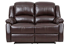 Lorraine Recliner Loveseat  in Brown Bonded Leather - Click for more details