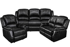 Lorraine Recliner Living Room Set  Includes: Sofa, Loveseat & Chair Black Bonded Leather  - Click for more details
