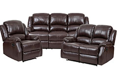 Lorraine Recliner Living Room Set Includes: Sofa, Loveseat & ChairBrown Bonded Leather  - Click for more details