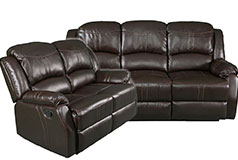 Lorraine Recliner Living Room Set Includes: Sofa & Loveseat Brown Bonded Leather - Click for more details