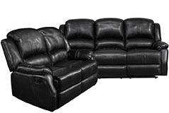 Lorraine Recliner Living Room Set Includes: Sofa & Loveseat Ebony Bonded Leather - Click for more details