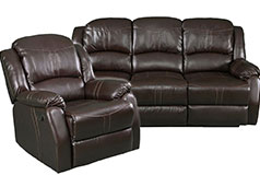 Lorraine Brown Bonded Leather Recliner 2 Piece Living Room Set - S/C