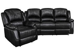 Lorraine Black Bonded Leather Recliner 2 Piece Living Room Set - S/C