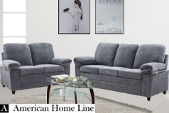 London Luxury Edition Living Room set in Grey Chenille  Includes: Sofa & Loveseat - Click for more details