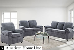 London Luxury Edition Living Room Set in Grey Chenille  Includes: Sofa, Loveseat & Chair - Click for more details