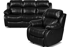 Bonded Leather Recliner Sofa & Chair in Black - Click for more details
