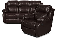 Bonded Leather Recliner Sofa & Chair  in Brown - Click for more details