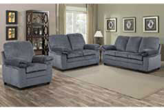 London Living Room Set  In grey chenille    Includes: Sofa, Loveseat & Chair  <br /> - Click for more details