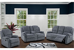 Crawford Recliner Livingroom Set in Grey Chenille Includes: Sofa, Loveseat, Chair - Click for more details