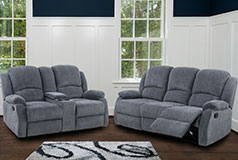 Crawford Recliner Set in Grey  Includes: Sofa, Loveseat