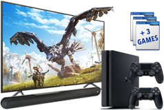 "Samsung 58"" Smart 4K UHD RU7100 TV, PS4 Slim 1TB & Polk Signa Solo Soundbar Bundle - Click for more details"