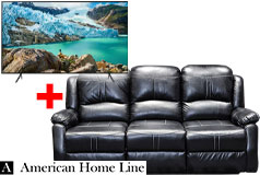 "Lorraine Bel-Aire Reclining Sofa in Ebony & Samsung 58"" Smart 4K UHD RU7100 TV Bundle     - Click for more details"
