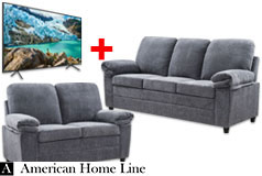 "London Luxury Edition Living Room set Sofa and Loveseat in Grey & Samsung 55"" 4K TV - Click for more details"