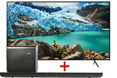 "Samsung 75"" 4K TV & Polk Omni SB1 Plus Home Theater Sound Bar System"