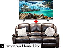"Samsung 58"" Smart 4K TV & Lorraine Bel-Aire Reclining Sofa in Mocha"
