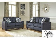 Ashley Burgos Sofa and Loveseat in Navy - Click for more details