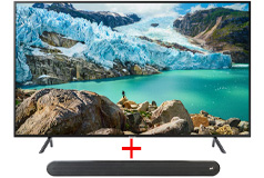 "Samsung 58"" Smart 4K RU7100 TV & Polk Audio - Signa Solo Soundbar"