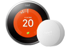 Google Nest Wi-Fi Smart Learning Thermostat & Nest Temperature Sensor Bundle - Click for more details