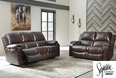 Ashley Rackingburg Reclining Sofa and Loveseat in Mahogany - Click for more details