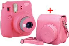 Fujifilm Instax Mini 9 Instant Camera & Groovy Case Bundle in Flamingo Pink - Click for more details
