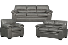 Jamieson Sofa Set Collection in Pewter, Includes: Sofa, Loveseat & Chair - Click for more details