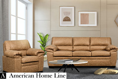 Jamieson Luxury Sofa Set Collection in Caramel, Includes: Sofa & Chair - Click for more details